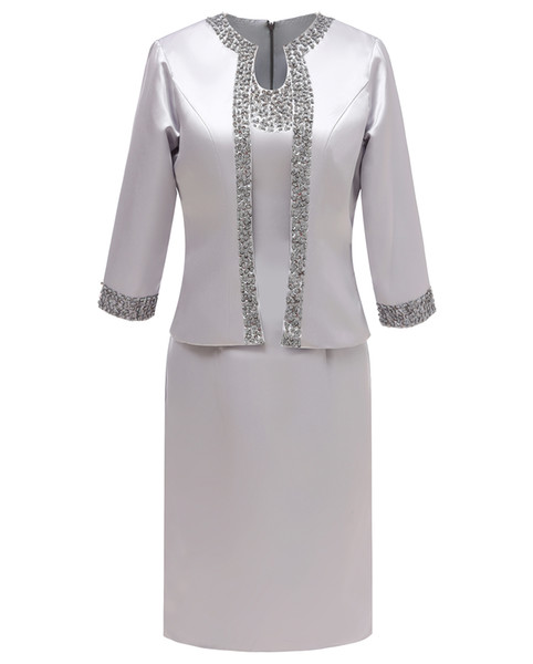 Women 2 Pieces Elegant Satin Sequins U Style Neck Mother of Bride dress 3/4 Sleeves for Wedding Groom