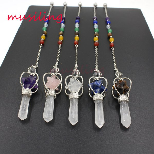 7 Chakra Beads Chain Pendant Reiki Pendulum Natural Stone Star Hexagon Prism Magic Charms Healing Amulet Jewelry Wholesale 10Pcs