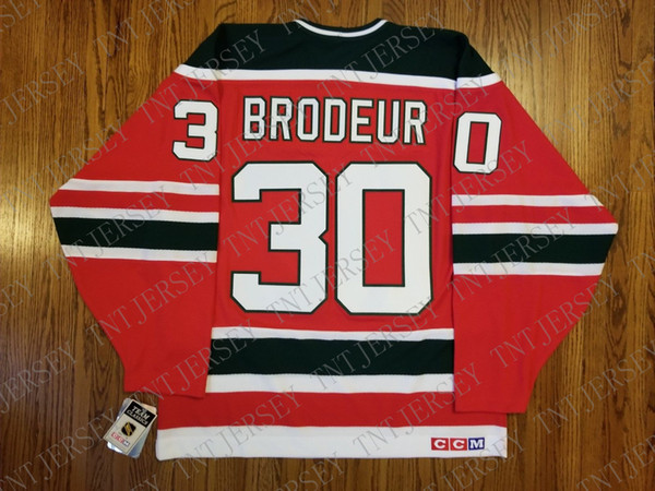 Cheap custom Marty Brodeur Vintage New Jersey Devils CCM Jersey Christmas Tree Green Stitched Retro Hockey Jersey XS-5XL