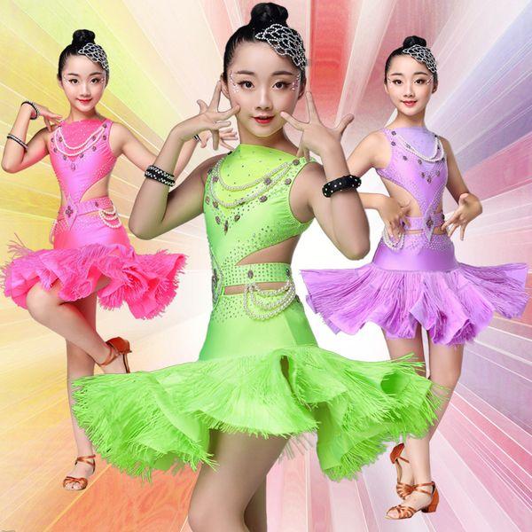 Children Sequin Professional Latin Dance Dress For Girls Ballroom Fringe Costumes Kids Modern Tassel Girl Ballroom Salsa Rumba