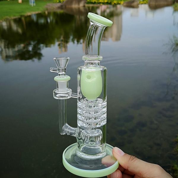 Уникальные стеклянные водные бонги Torus Heady Green Blue Oil Нефтяные вышки Бочка с трещоткой Perc Водопроводные трубы Перевернутая насадка для душа Стеклянные бонг
