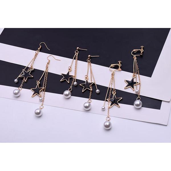 SUKI Geometry Pentagram Clip Earrings No Pierced Ear Pearl Metal Tassel Clip On Earrings Women Five-Pointed Star Earring Jewelry