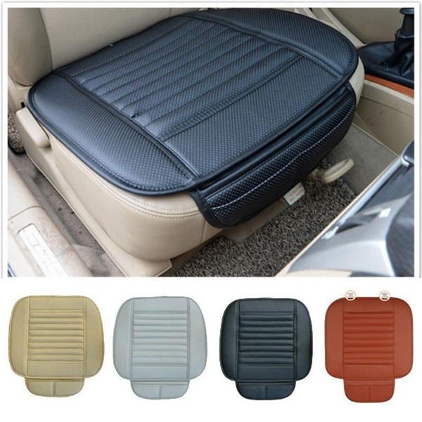 New Universal Car Front Seats Cover PU Leather Bamboo Single Bucket Seat Protector Mat Cushion Car Owner Cushion Cover 4Color