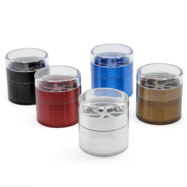 5 layers transparent lid tobacco grinder 66x63mm smoking herbal grinders good quality tobacco cigarette grinder free shipping