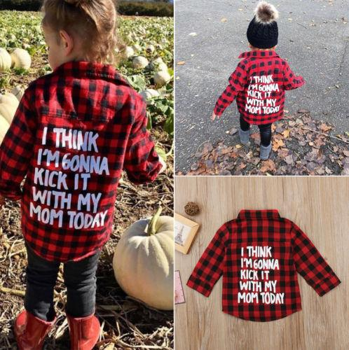 top popular Kids Little Boys Girls Baby Long Sleeve Letters Print Button Down Red Plaid Flannel Shirt 2021