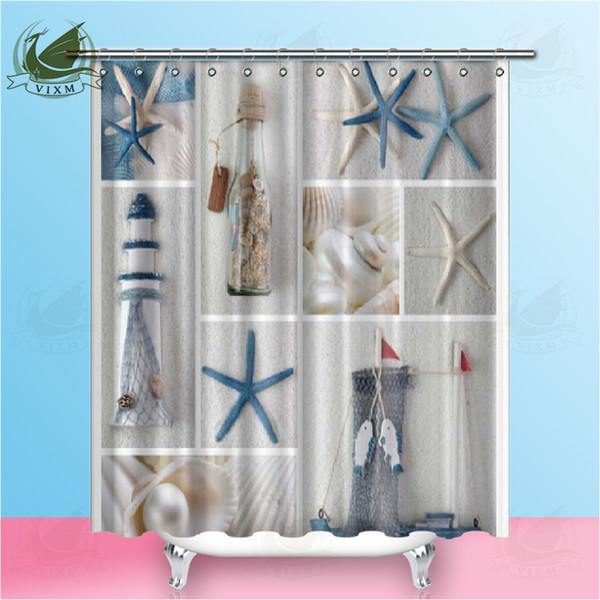 Vixm High Quality Sea Beach Shell Printed Shower Curtains Bath Screen Waterproof Products Bathroom Decor with Hooks