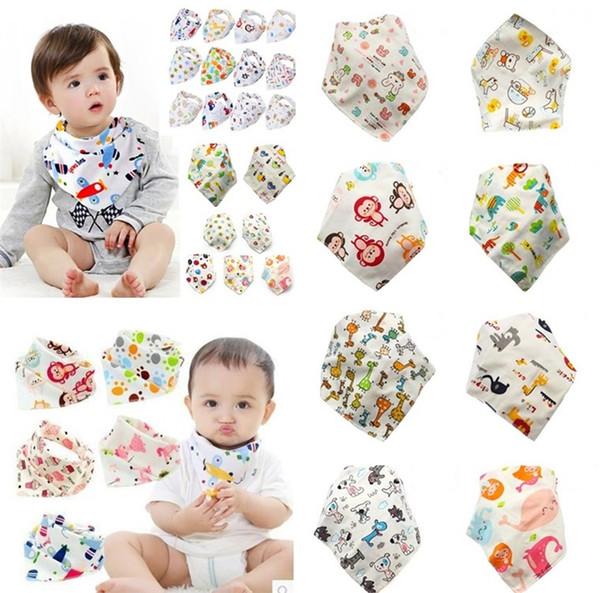 Yeni Pretty Bebek Burp Bezleri besleme üçgen önlükler pamuk bebek önlükler Hayvan Baskı bebek önlükler 1000 adet / grup T2I044