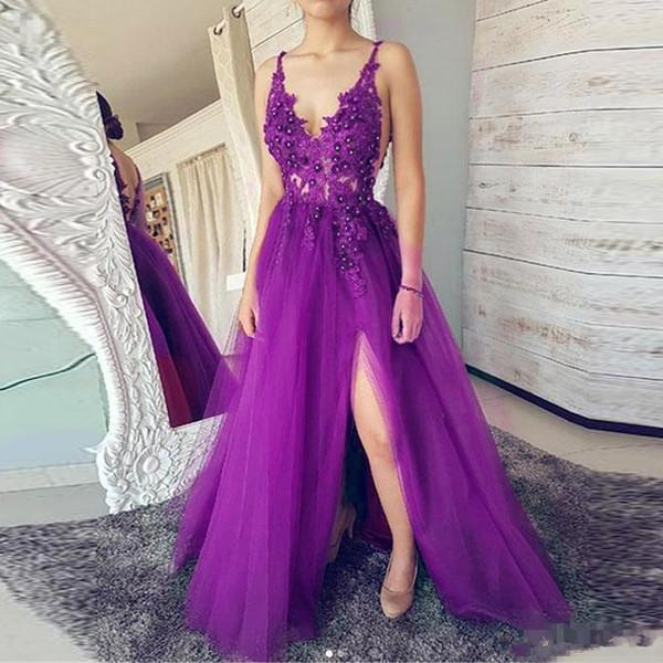 Merveilleuse robe de bal en tulle violet 2019 nouvelle sangle fendue spaghetti une ligne dos nu illusion dentelle plus la taille formelle robes de soirée