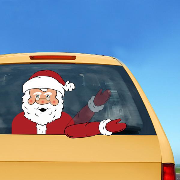 Waving Arm Christmas Car Wiper Decals Sticker Window Rear Wiper Decals Car Decorations PVC Stickers Christmas SUV Ornament