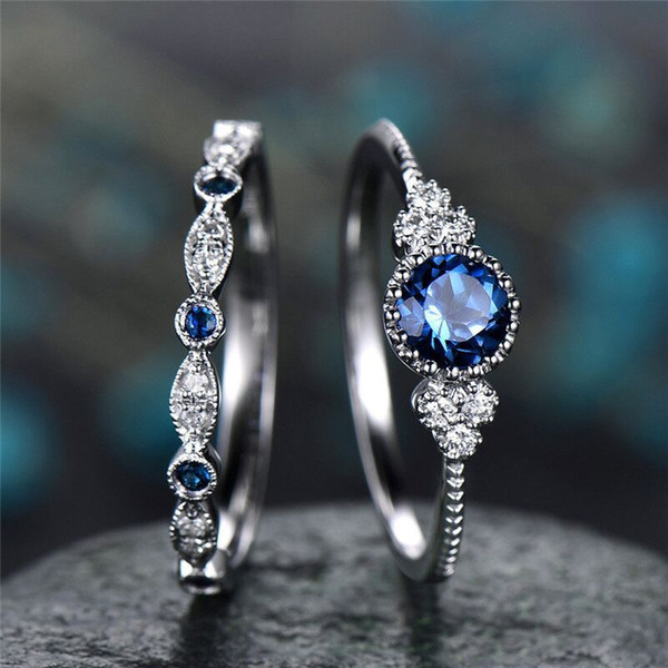 High Quality Fashion Design Young Womens Gift Jewelry Ring Beautiful Blue and Green Gemstone Ring 2PCS /Set