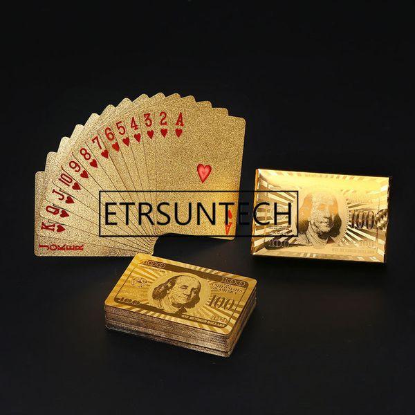 best selling 50sets Golden Playing Cards Deck Gold Foil Poker Set Magic Card Plastic Foil Poker Gift Collection Wedding Favor For Guest