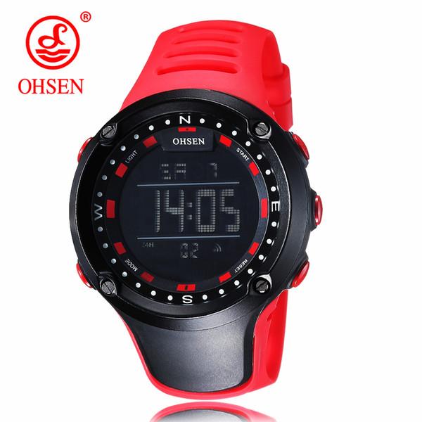OHSEN Marca Homens Mulheres Relógios Desportivos À Prova D 'Água de Alarme Digital LED Relógio Eletrônico Homem Esporte Masculino Relógio Ocasional Relogio masculino