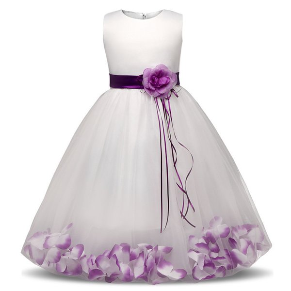 Flower Girl Baby Wedding Dress Fairy Petals Children's Clothing Girl Party Dress Kids Clothes Fancy Teenage Girl Gown 4 6 8 10t J190506
