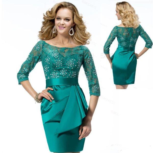 Elegante Crystal Emerald Green Scheide Mutter der Braut Bräutigam Kleider Kurze Neue 2019 Top Lace Sheer Neck Halbarm Hochzeitsgast Kleid