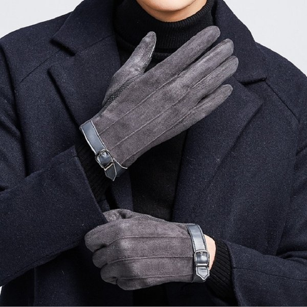 men gloves winter Suede winter Keep warm Cashmere thickening gloves touch screen outdoors riding wind proof