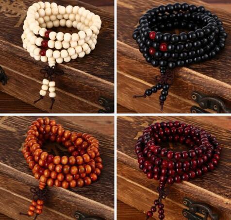 Новейшие 108 * 8 мм Природного сандала Медитация 108 бусин Вуд Молитвы из бисера Мал браслет Женщины Мужчина ювелирных изделия