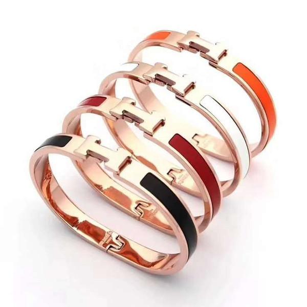 8mm Large Or Rose Bracelet En Or Pour Les Femmes En Céramique Spring Bracelet H Lettre En Acier Titane Bracelet En Acier De Titane