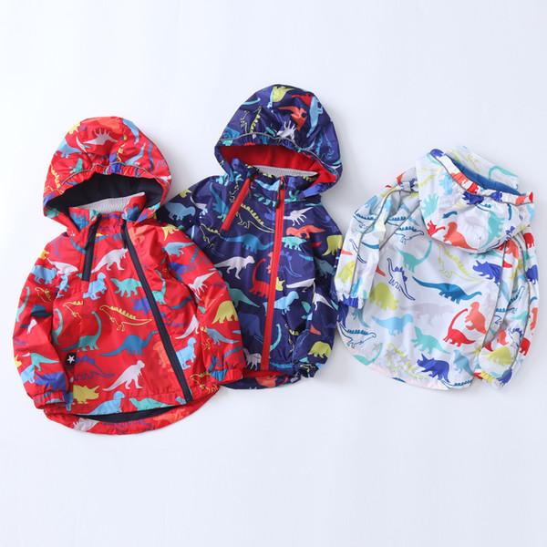 Cocuk Giyim 2019 Sonbahar Dinozor Basım ve Kadife Hood Boys'un Ceket