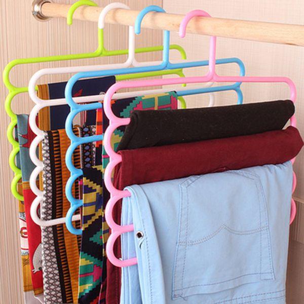 Pants Hangers Holders Multifunction Trousers Hanger Tie Scarfs Belt Towel Non-slip Magic Hanger Storage Rack clothes hanger 1PC lp0021