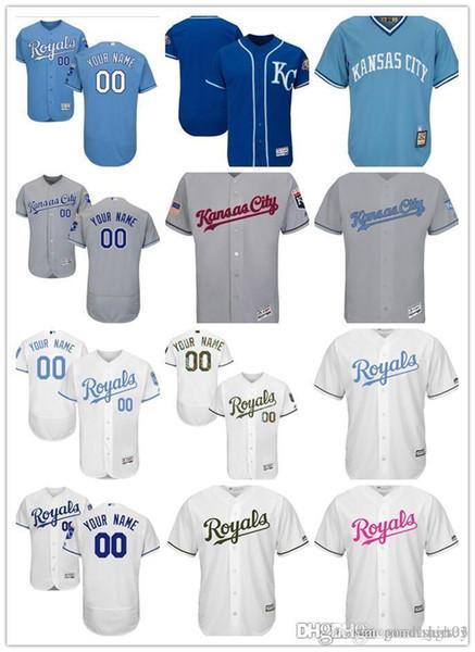 Benutzerdefinierte Männer Frauen Jugend KC Royals Jersey Personalisierte # 00 Beliebige Ihr Name und Nummer Startseite Blau Weiß Grau Baseball-Shirts