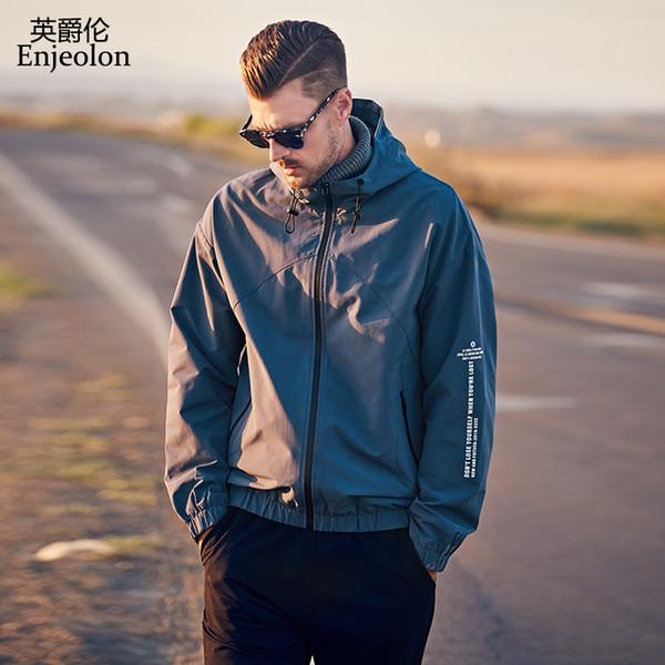 Enjeolon 2019 Streetwear Ceket Erkekler Rüzgarlık Ceket Bahar Sonbahar Moda Rahat Hip Hop Ceket Beyzbol Kapüşonlu JK633