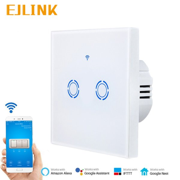 Wifi Switch EJLINK Smart Home Light Switch Ewelink APP Remote Control Glass  Panel EU Type 86x86mm Wall Works With Alexa Smart Homes Technology Home