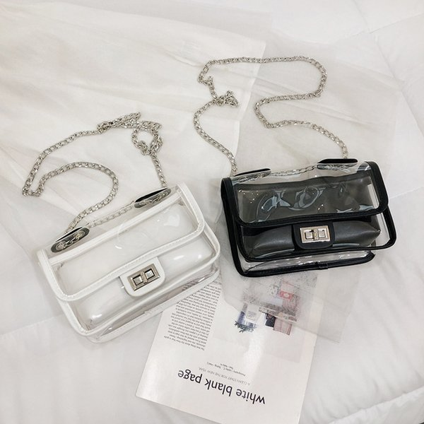 Fairy2019 Bag Woman Chain Transparent Jelly Hit Color Ma'am Single Shoulder Messenger Small Square Package