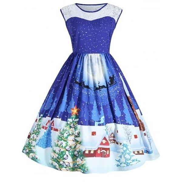 Vintage Christmas Dress Plus size 4XL 5XL Sleeveless Tank Women Xmas Tree Snowman Printed Casual Party Dresses Large Sizes Robe