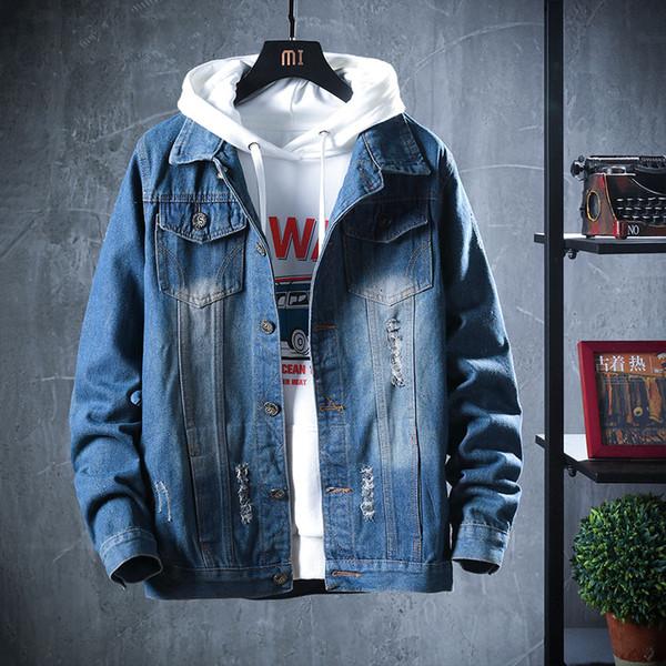 Veste de marque vêtements hommes trou à capuchon troué bleu denim vestes homme manteaux slim fit plus la taille M-3XL mode homme pardessus