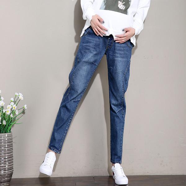 Elastic Waist Belly Denim Maternity Jeans Suit for Four Season Wear Pencil Trousers Clothes for Pregnant Women Pregnancy