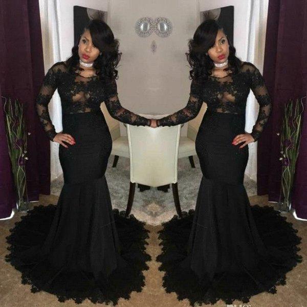 2019 Seksi Illusion Afrika Siyah Gelinlik Modelleri Mermaid Jewel Boyun Dantel Aplikler Uzun Kollu Abiye giyim Afrika Kız Parti BA7785 Giymek