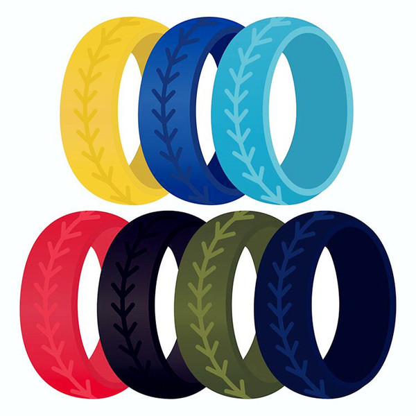 7 colors/Lot Silicone sports Rings unisex Personalized softball Finger Rings For women Men Wedding engagement Fashion Jewelry Gift Bulk
