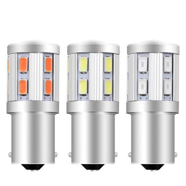 2 UNIDS 1156 BA15S 12 SMD Samsung chips 5730 Cree llevó chips p21w R5W Coche bombillas LED Luces de freno trasero estacionamiento 12 V Ámbar Amarillo Rojo