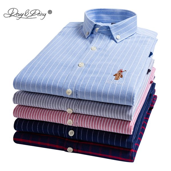 DAVYDAISY Men Shirt 2019 New Arrival Spring 100% Cotton Oxford Striped Long Sleeved Man Shirts Causal Slim Fit Male Shirt DS285
