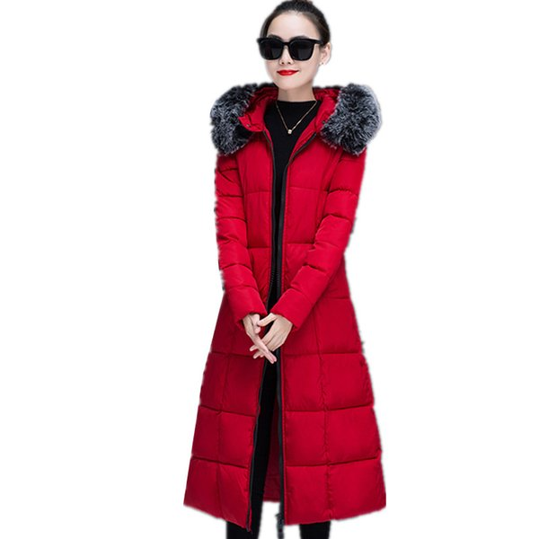 B3702 autumn winter 2018 new women fashion long knee-length thickened slim warm cotton-padded clothes coat cheap wholesale