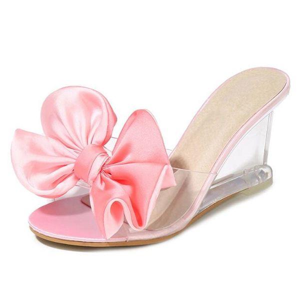 Vente chaude 2019 New Summer Bow Slope Haute Talons Chaussures Femme Mode Sandales Pantoufles Sauvage Transparent Femmes Chaussures Sandales Pantoufles D'été