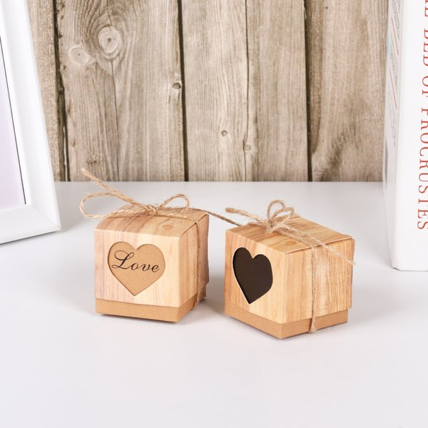 5pcs Love Christmas Candy Box Romantic Heart Kraft Gift Bag With Burlap Wedding Favors Gift Box Hollow Out Wedding Supplies