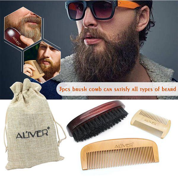 top popular ALIVER 3pcs set Fashion Men Beard Kit Styling Tool New Beard Styling Care Bristle brush Peach comb sets B 2021