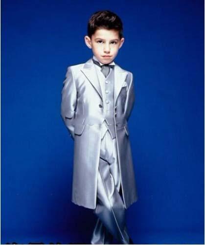 Personalizado Nuevo estilo Hecho a medida Boy Tuxedos Fashional Children Suit silver Kid Wedding / Prom Trajes (chaqueta + pantalones + chaleco + corbata)