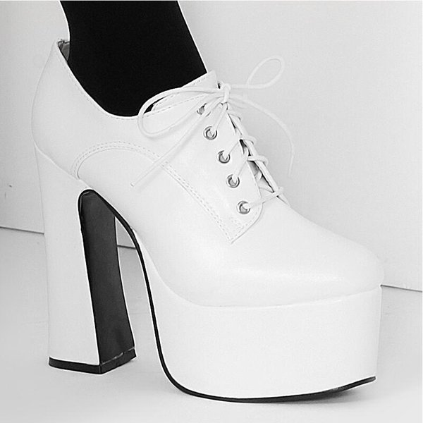 White Womens Chunky Block Thick Heel Platform pumps Lace-up Vintage 15CM High Heels Big Size Cosplay Shoes Man Dance Shoe