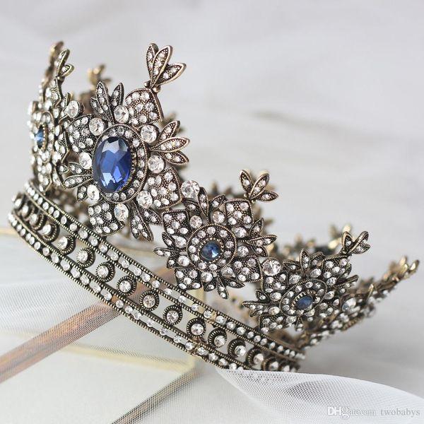 Шикарный Винтаж королевский синий ювелирные короны для женщин свадебные диадемы кристаллы аксессуары для волос девушки конкурс партии головной убор