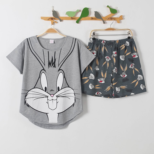 Pants + Short Sleeve Tops Pajamas Sets Cotton Nightwear Big Yards M-xxl Cartoon Pyjamas Women Summer Sleepwear 2pcs/set Q190513