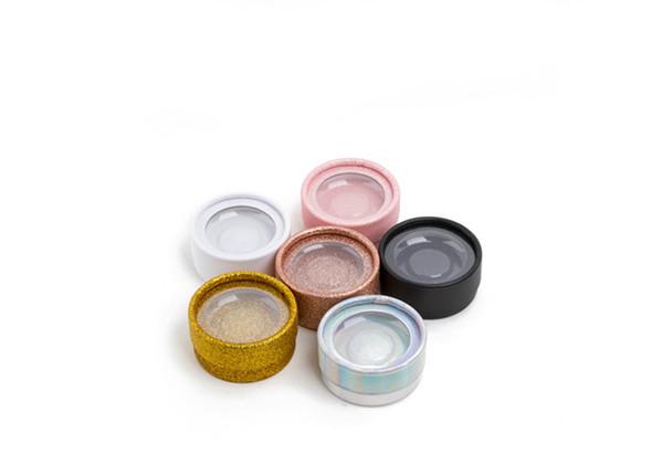 5Pcs Empty Round Lash Boxes For 3D Mink Eyelash Extension Gold White Rose Gold Black Pink Offer Plastic Tray 3D Strip Lash Box
