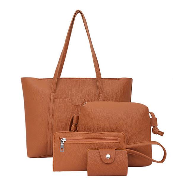 Женская сумка четыре набора топ-ручка большой емкости женская кисточкой сумка мода сумка кошелек дамы искусственная кожа Crossbody сумка#A