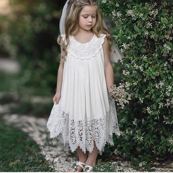 Ins Little Girl Crochet Lace Party Dress Kids Clothing Baby Princess Hallow Out Dress Sleeveless Summer Beach Lovely dress