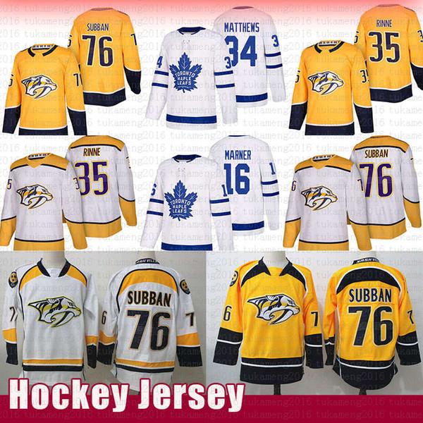Nashville Predators 76 P.K. Subban Hockey Trikots 35 Pekka Rinne Toronto Maple Leafs 16 Mitch Marner 34 Auston Matthews Trikot Retro 2019