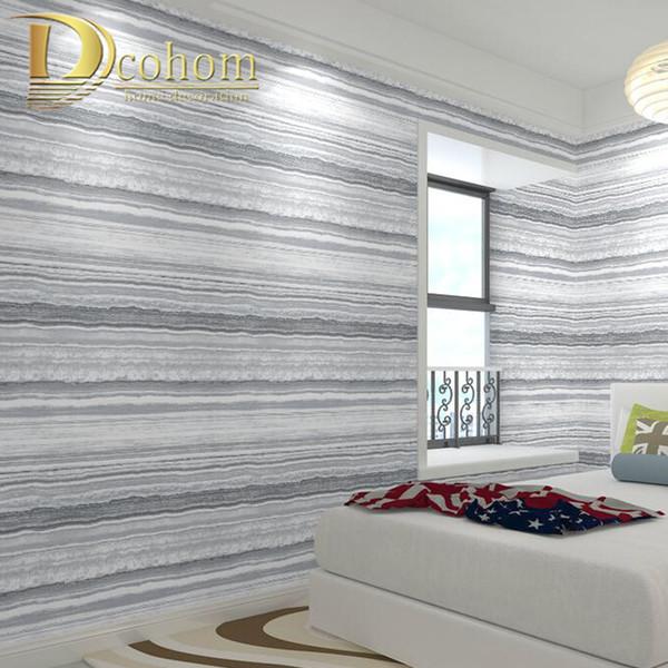 Schwarzes graues gestreiftes Tapeten-modernes Schlafzimmer kurvte Streifen-Tapetenrolle für Wohnzimmer FernsehBackgroun