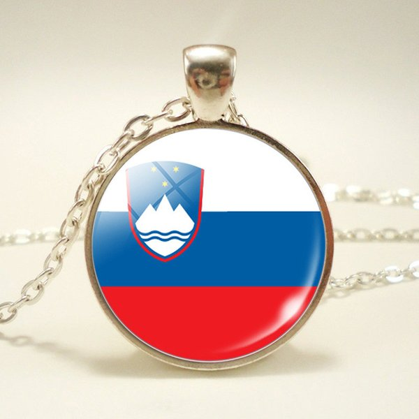 New Slovenia National Flag World Time Gem Glass Cabochon Necklace Pendant Long Link Chain Chokers Jewelry High Quality Woman Men Unisex Gift
