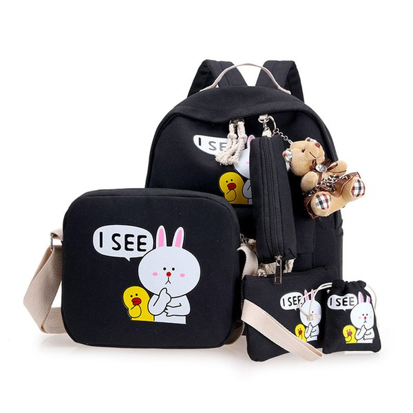 4pcs/set School Bags Canvas School Backpack Cute Cartoon Printing Children High Quality Backpacks for Teenager Girls Bags