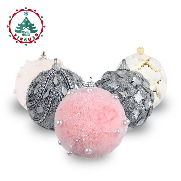 inhoo 7/8cm Merry Christmas Rhinestone Glitter Baubles Balls Christmas Tree Hanging Ornaments Decor foam balls Styrofoam